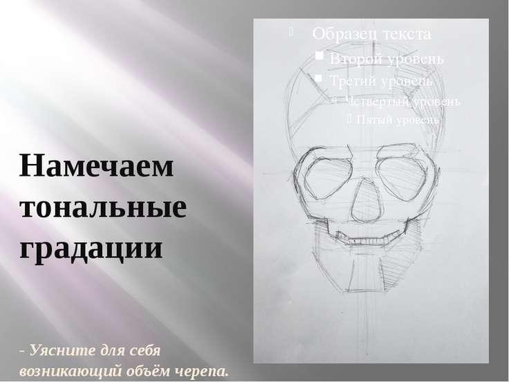 Намечаем тональные градации - Уясните для себя возникающий объём черепа.
