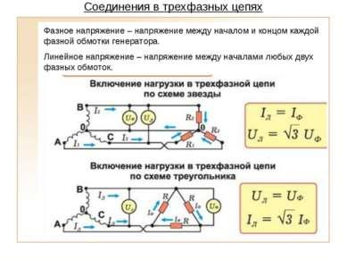 Соединения в трехфазных цепях Фазное напряжение – напряжение между началом и ...