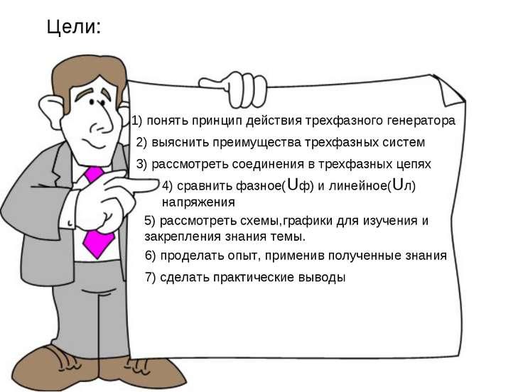 Цели: 1) понять принцип действия трехфазного генератора 2) выяснить преимущес...