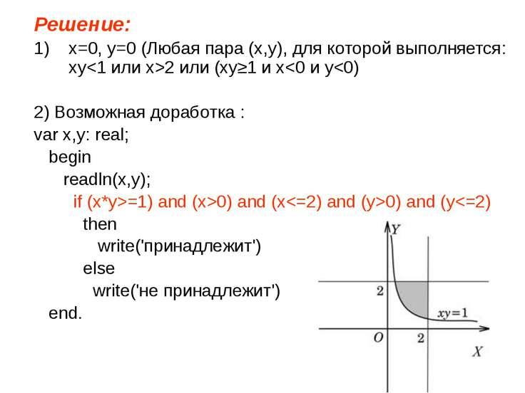 Решение: x=0, y=0 (Любая пара (x,y), для которой выполняется: xy2 или (xy≥1 и...