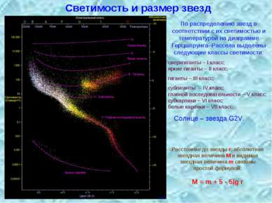 Светимость и размер звезд По распределению звезд в соответствии с их светимос...