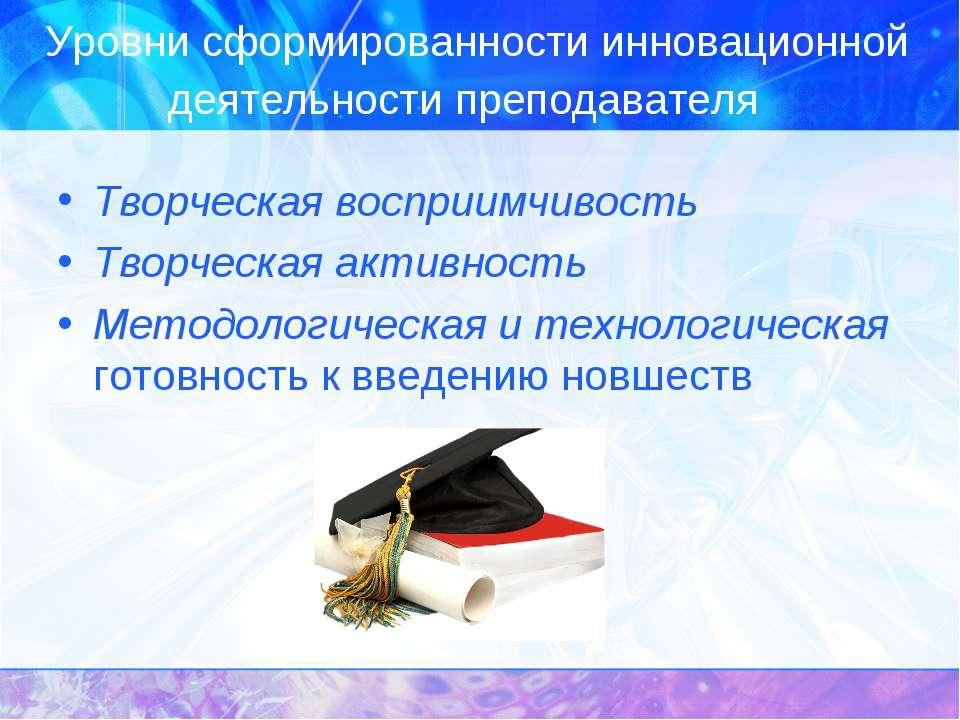 Уровни сформированности инновационной деятельности преподавателя Творческая в...
