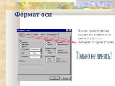 Формат оси Нажать правую кнопку мышки и в контекстном меню формат оси Выбирай...