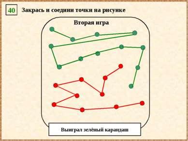 40 Закрась и соедини точки на рисунке Вторая игра Выиграл зелёный карандаш