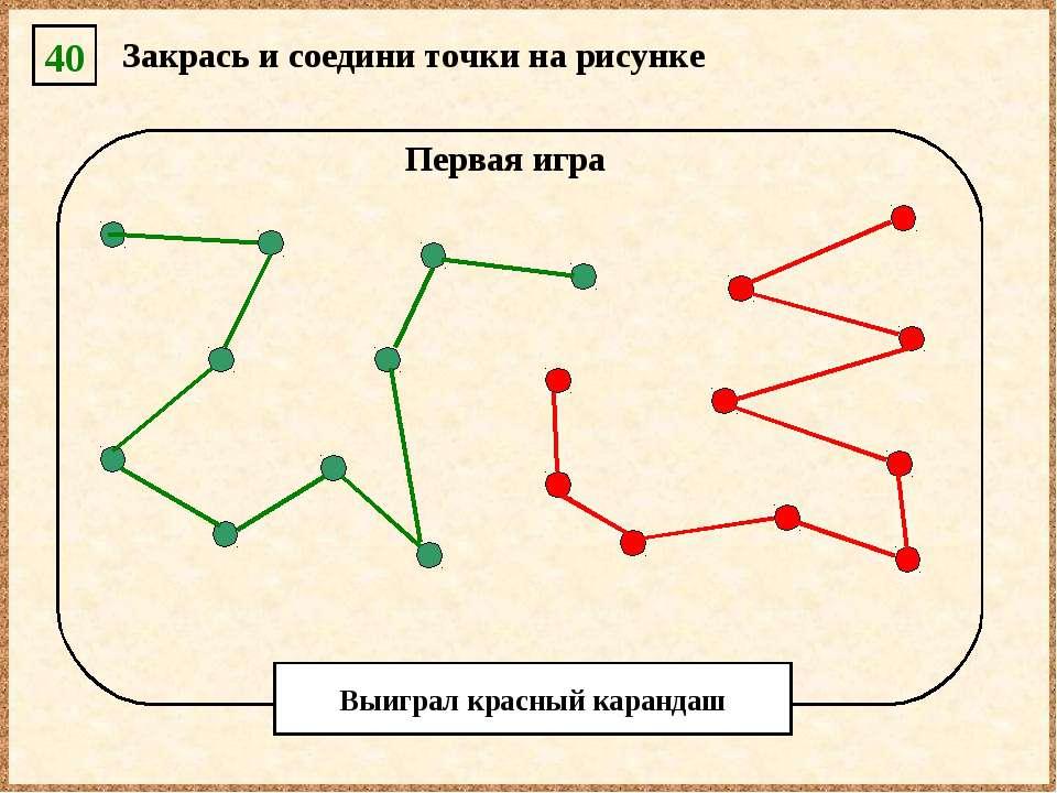 40 Закрась и соедини точки на рисунке Первая игра Выиграл красный карандаш