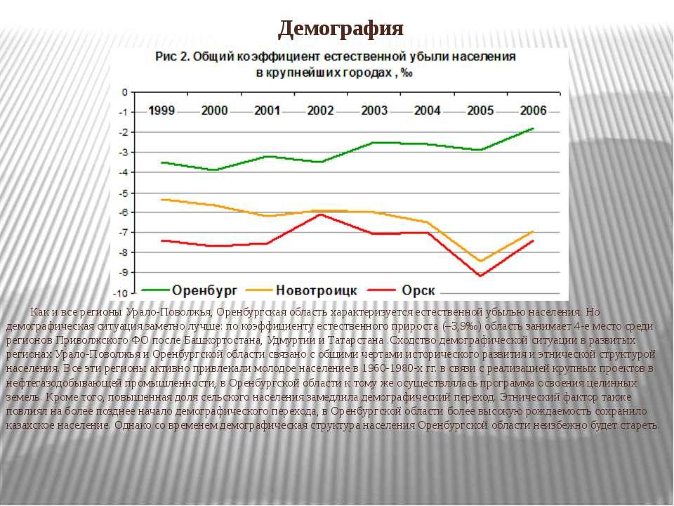 Демография Как и все регионы Урало-Поволжья, Оренбургская область характеризу...
