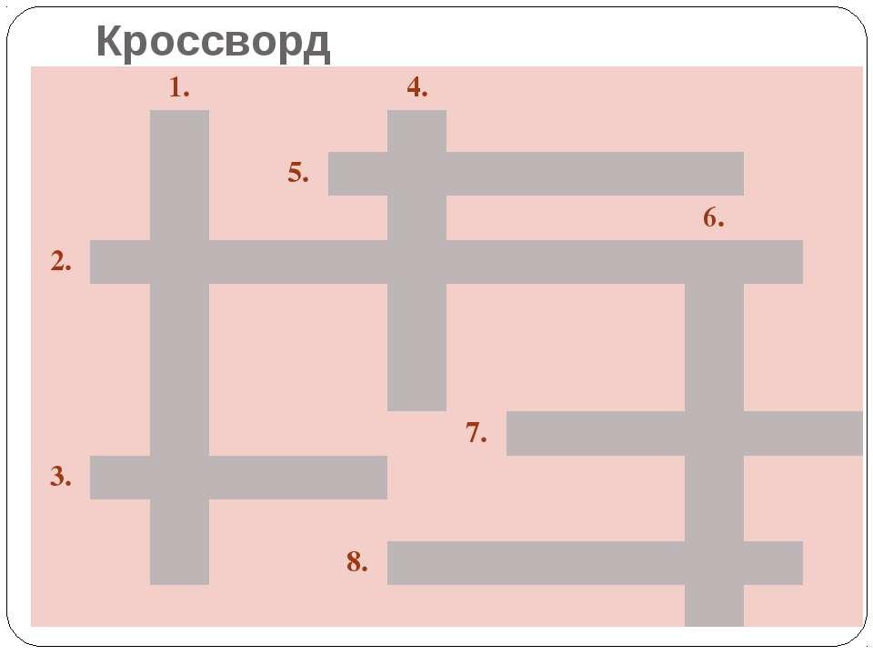 Кроссворд 1. 4. 5. 6. 2. 7. 3. 8.