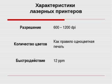 Характеристики лазерных принтеров Разрешение 600 – 1200 dpi Количество цветов...