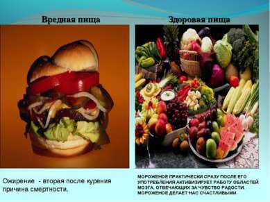 Вредная пища Здоровая пища Ожирение - вторая после курения причина смертности...