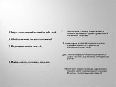 5.Закрепление знаний и способов действий 6. Обобщение и систематизация знаний...