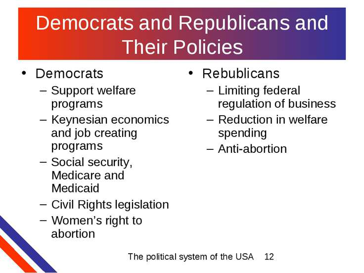 Democrats and Republicans and Their Policies Democrats Support welfare progra...