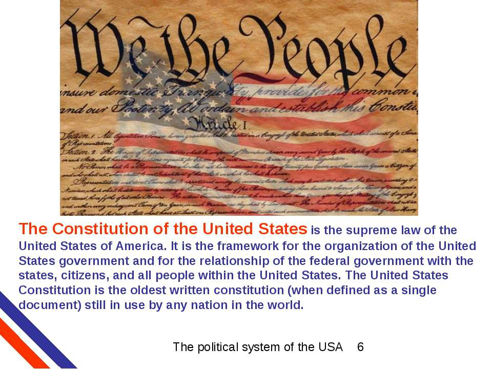 The Constitution of the United States is the supreme law of the United States...