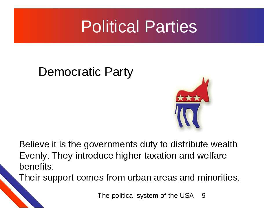 Political Parties Democratic Party Believe it is the governments duty to dist...