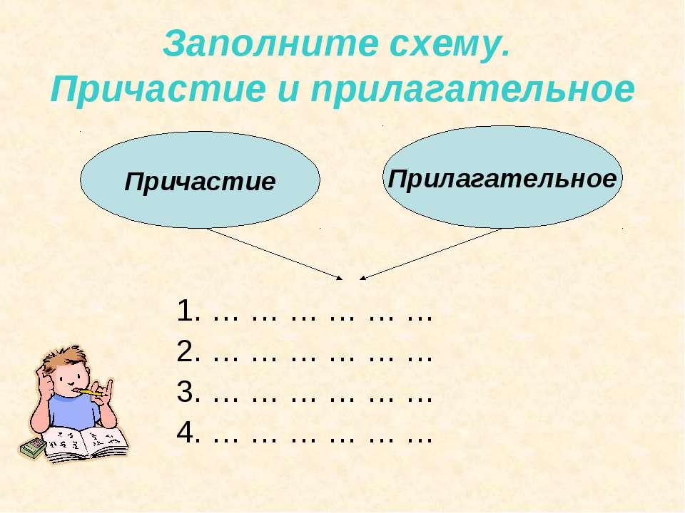 Заполните схему. Причастие и прилагательное 1. … … … … … … 2. … … … … … … 3. ...