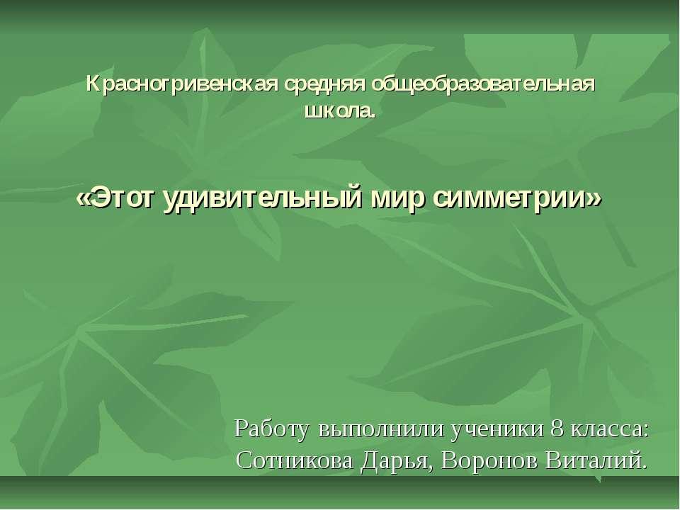 Красногривенская средняя общеобразовательная школа. «Этот удивительный мир си...
