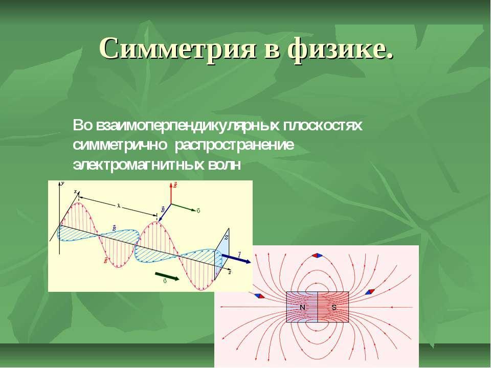 Симметрия в физике. Во взаимоперпендикулярных плоскостях симметрично распрост...