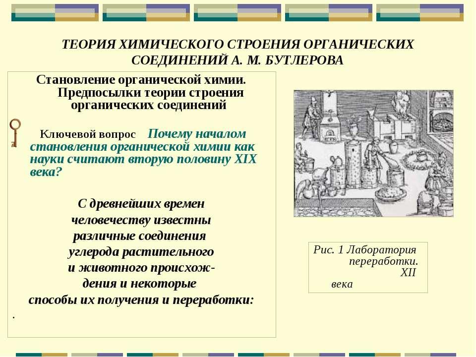 ТЕОРИЯ ХИМИЧЕСКОГО СТРОЕНИЯ ОРГАНИЧЕСКИХ СОЕДИНЕНИЙ А. М. БУТЛЕРОВА Становлен...