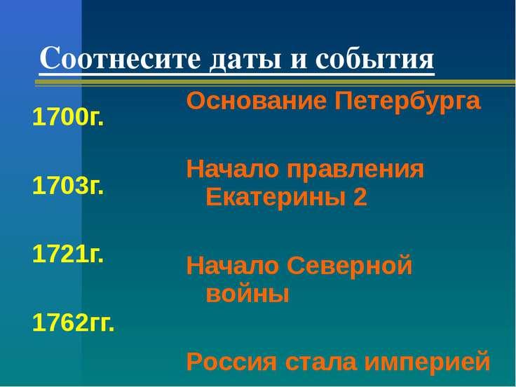 Соотнесите даты и события 1700г. 1703г. 1721г. 1762гг. Основание Петербурга Н...