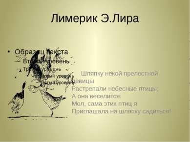 Лимерик Э.Лира Шляпку некой прелестной девицы Растрепали небесные птицы; А он...