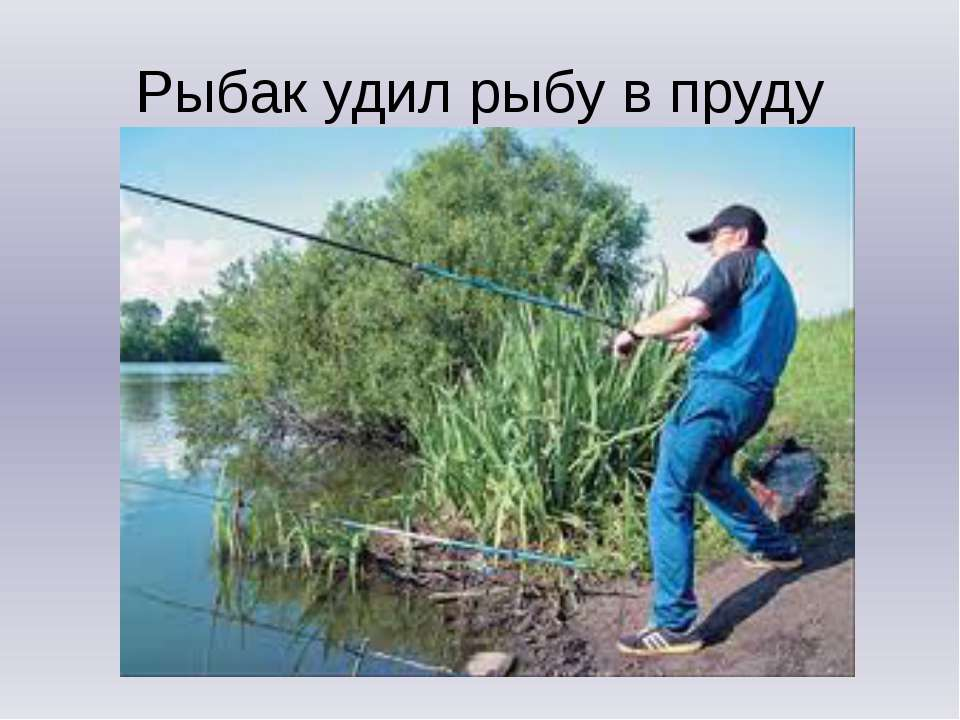Рыбак удил рыбу в пруду