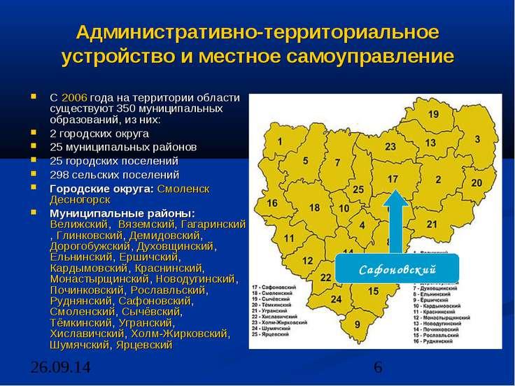 Административно-территориальное устройство и местное самоуправление С 2006 го...