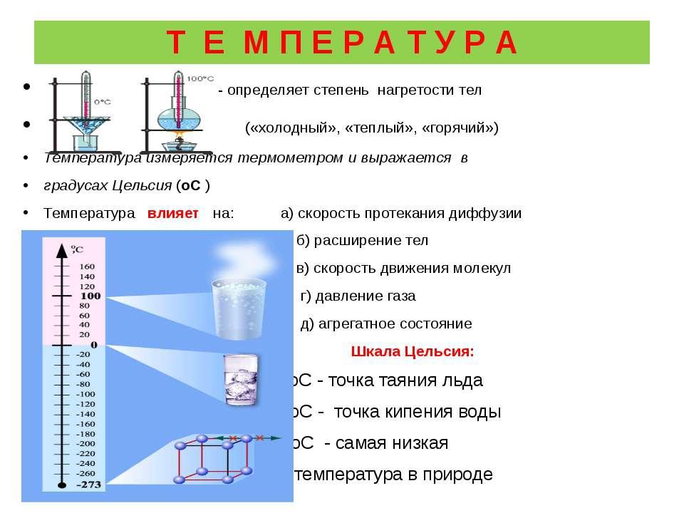 Т Е М П Е Р А Т У Р А - определяет степень нагретости тел («холодный», «теплы...