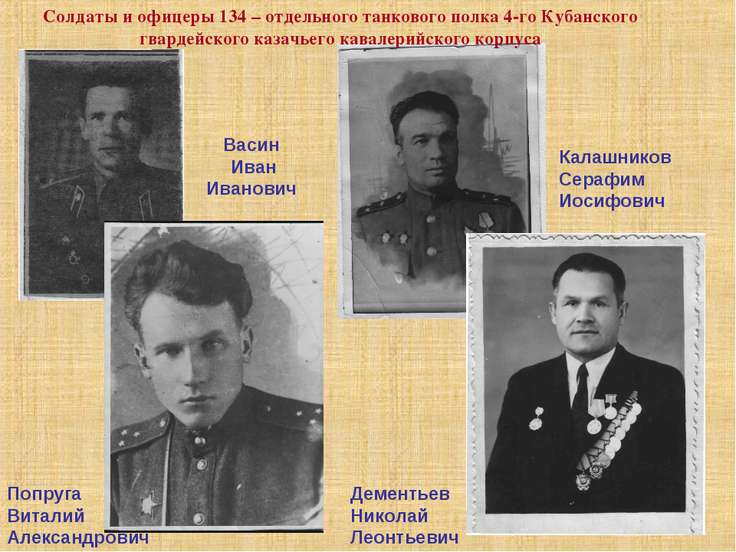 Васин Иван Иванович Калашников Серафим Иосифович Попруга Виталий Александрови...