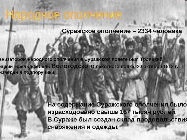 Суражское ополчение – 2334 человека Организатором народного ополчения в Сураж...