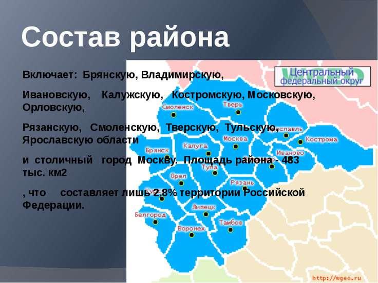 Состав района Включает: Брянскую, Владимирскую, Ивановскую, Калужскую, Костро...