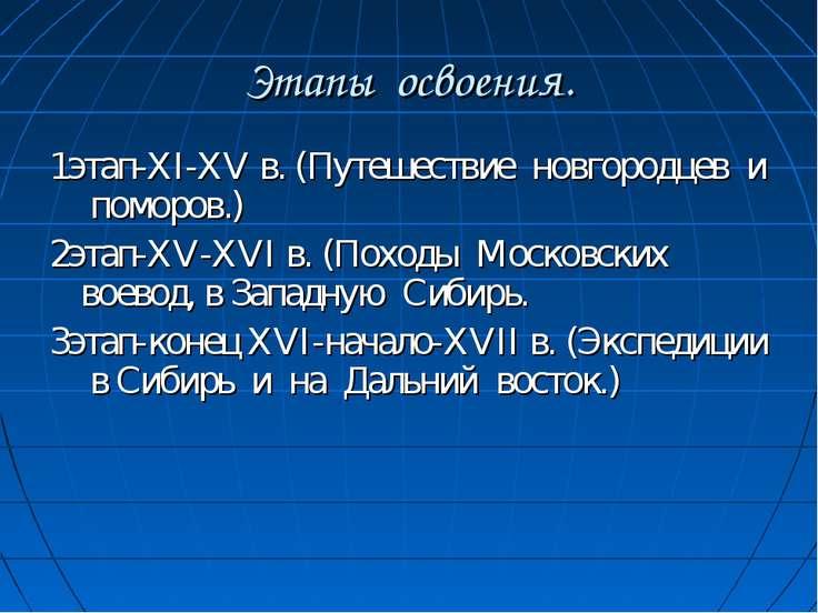 Этапы освоения. 1этап-XI-XV в. (Путешествие новгородцев и поморов.) 2этап-XV-...