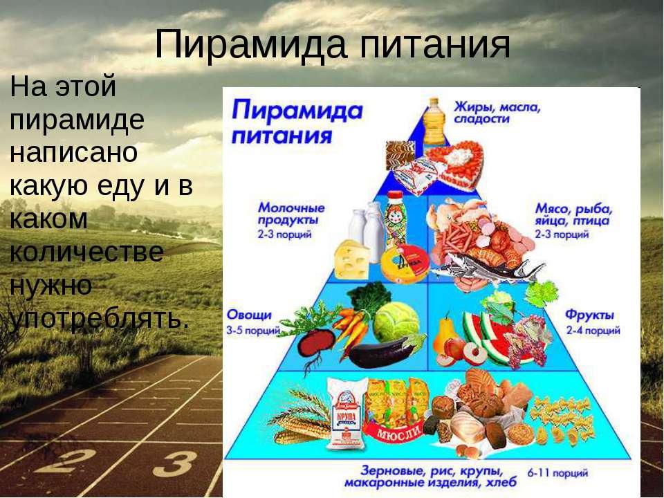 Пирамида питания На этой пирамиде написано какую еду и в каком количестве нуж...