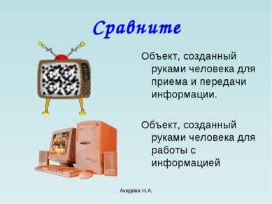 Ахидова Н.А. Сравните Объект, созданный руками человека для приема и передачи...