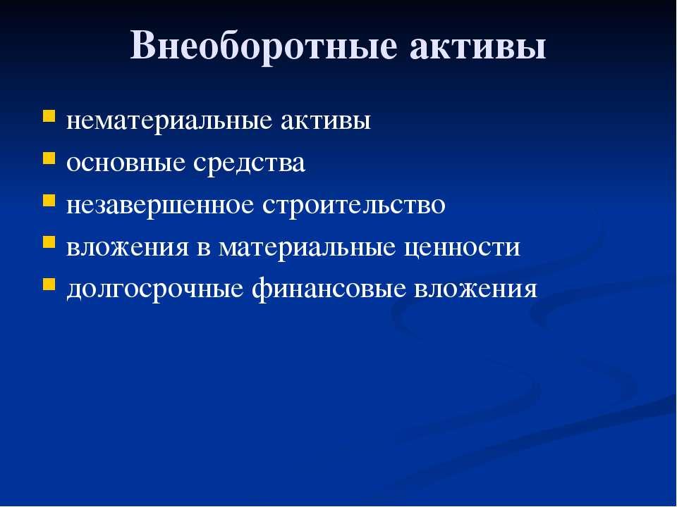 Глава 3. Экономика фирмы 19. Баланс фирмы и управление ею Внеоборотные активы...