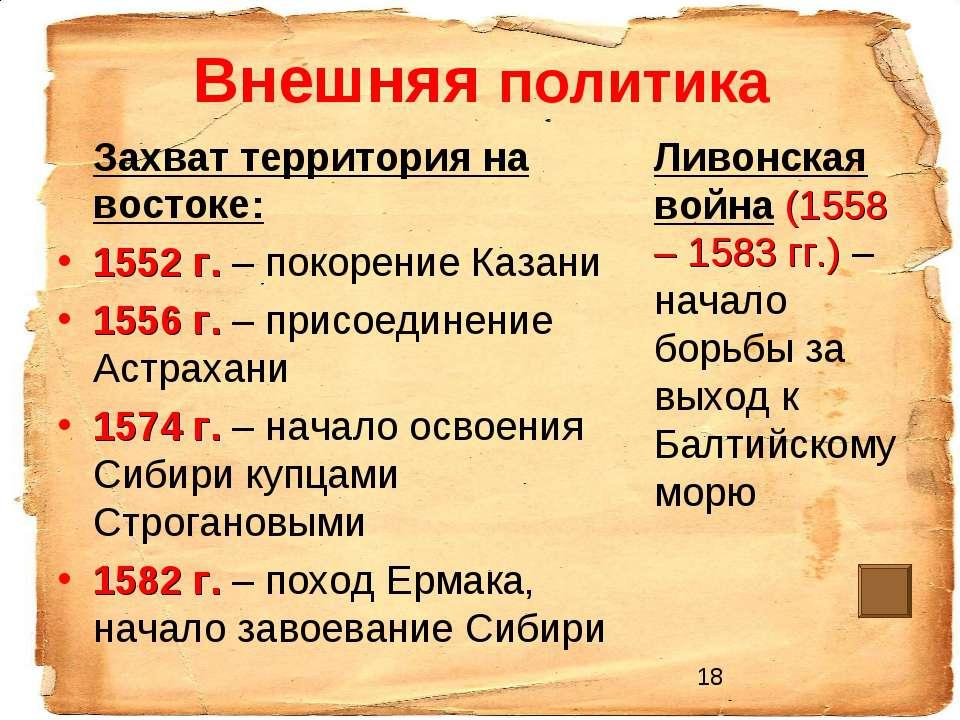 Внешняя политика Захват территория на востоке: 1552 г. – покорение Казани 155...