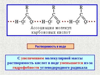 Растворимость в воде С увеличением молекулярной массы растворимость кислот в ...