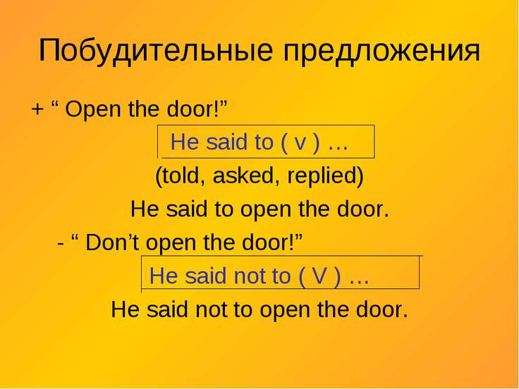 "Побудительные предложения + "" Open the door!"" He said to ( v ) … (told, asked..."