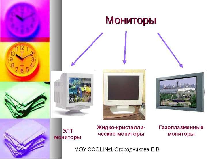 Мониторы ЭЛТ мониторы Жидко-кристалли-ческие мониторы Газоплазменные мониторы...