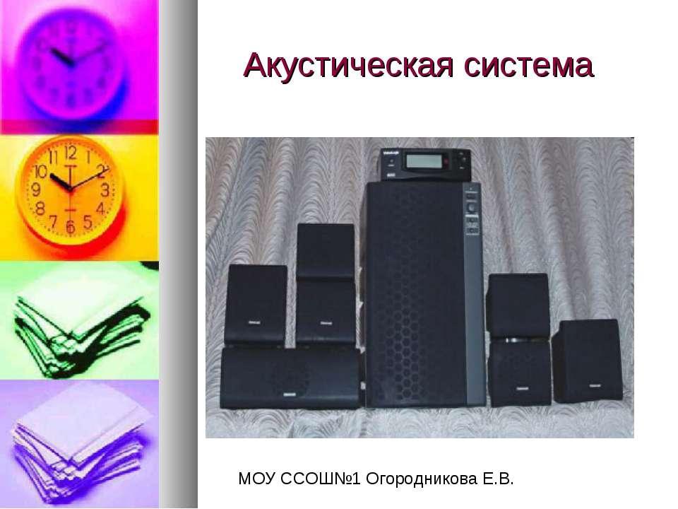 Акустическая система МОУ ССОШ№1 Огородникова Е.В.