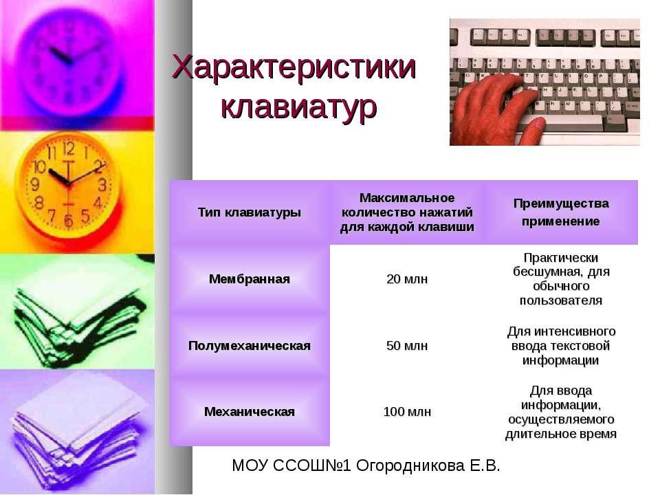 Характеристики клавиатур МОУ ССОШ№1 Огородникова Е.В.