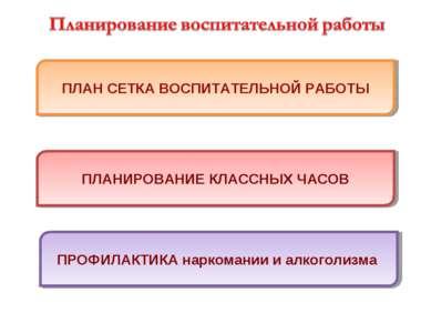 ПЛАН СЕТКА ВОСПИТАТЕЛЬНОЙ РАБОТЫ ПЛАНИРОВАНИЕ КЛАССНЫХ ЧАСОВ ПРОФИЛАКТИКА нар...