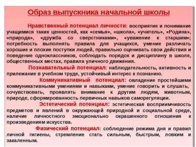 Образ выпускника начальной школы Нравственный потенциал личности: восприятие ...