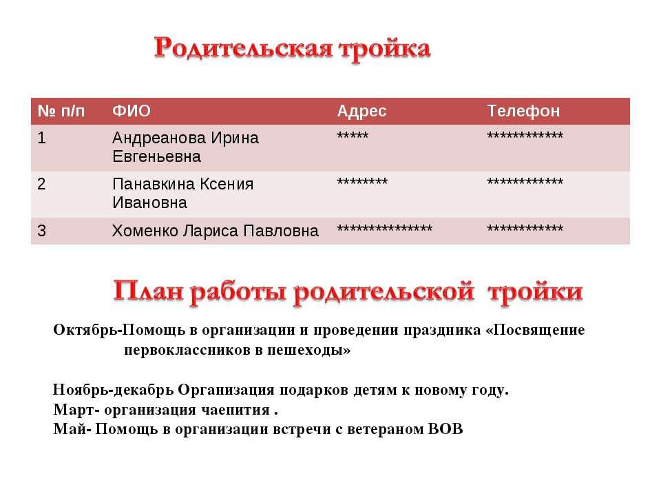 Октябрь-Помощь в организации и проведении праздника «Посвящение первоклассник...