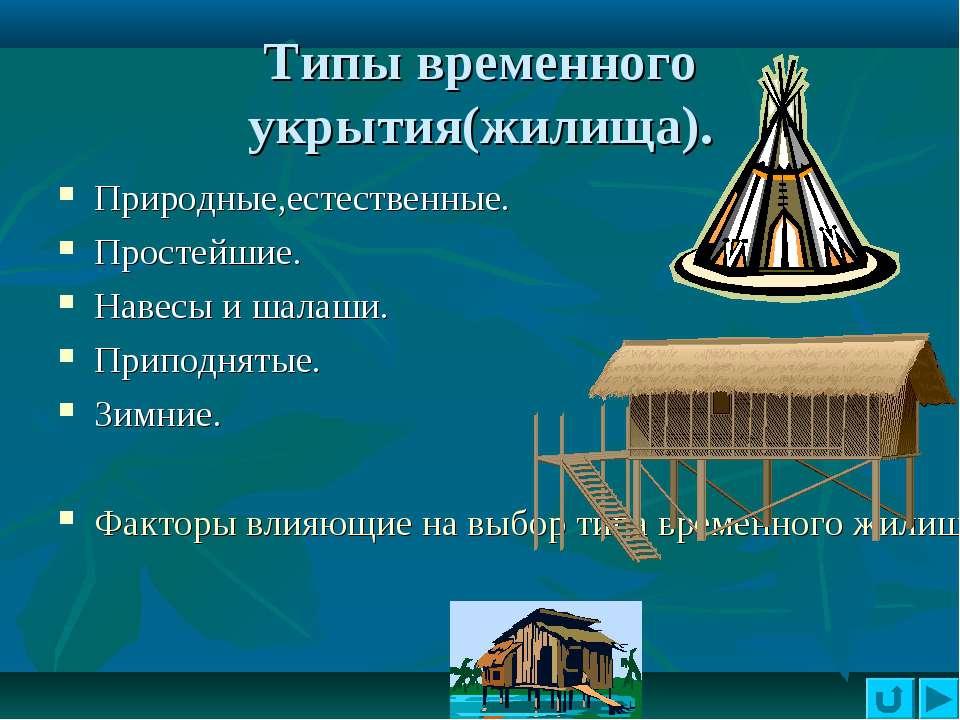 Типы временного укрытия(жилища). Природные,естественные. Простейшие. Навесы и...