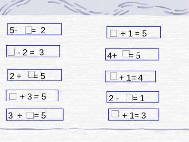 + 3 = 5 5- = 2 4+ = 5 2 - = 1 + 1 = 5 - 2 = 3 3 + = 5 + 1= 3 + 1= 4 3 2 + = 5