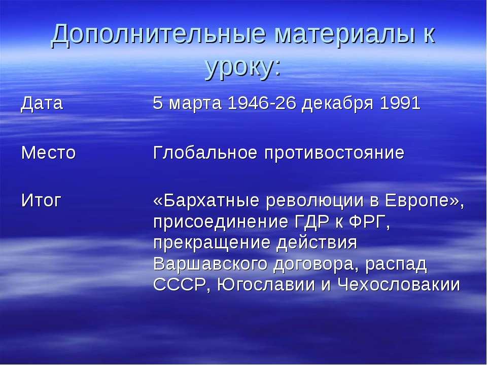 Дополнительные материалы к уроку: Дата 5 марта 1946-26 декабря 1991 Место Гло...