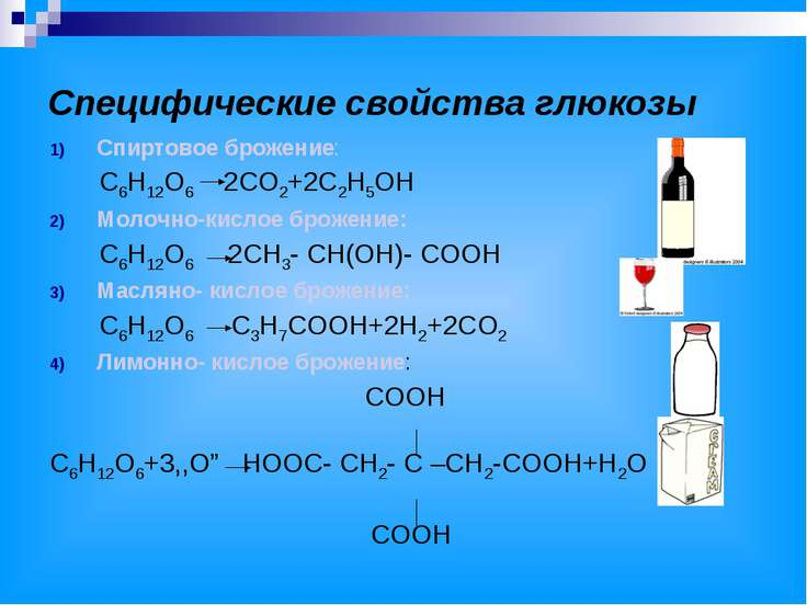 Специфические свойства глюкозы
