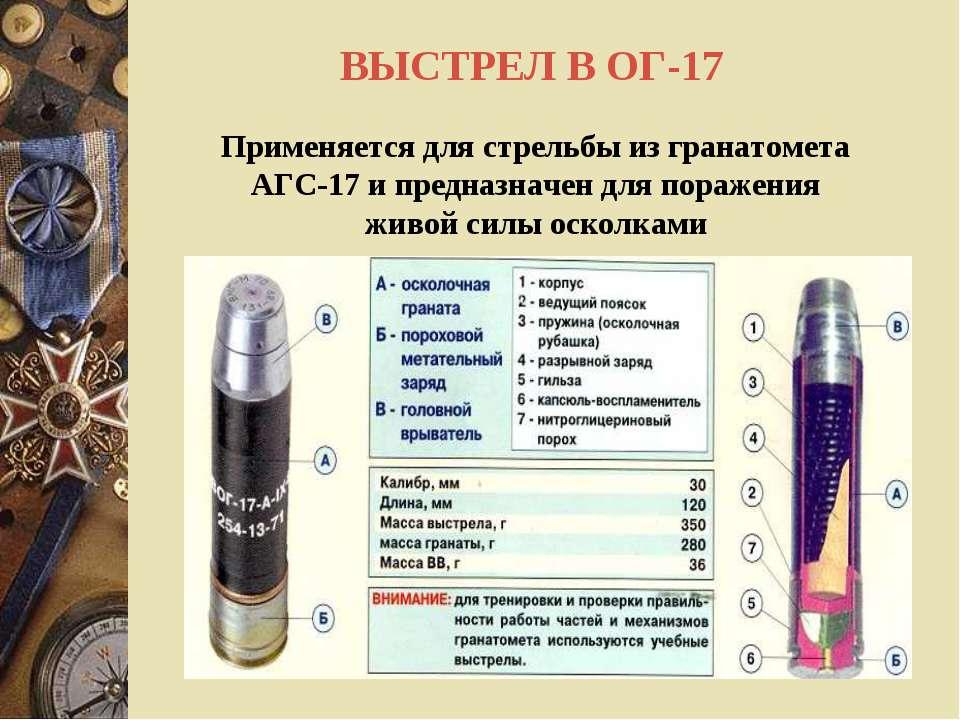 ВЫСТРЕЛ В ОГ-17 Применяется для стрельбы из гранатомета АГС-17 и предназначен...