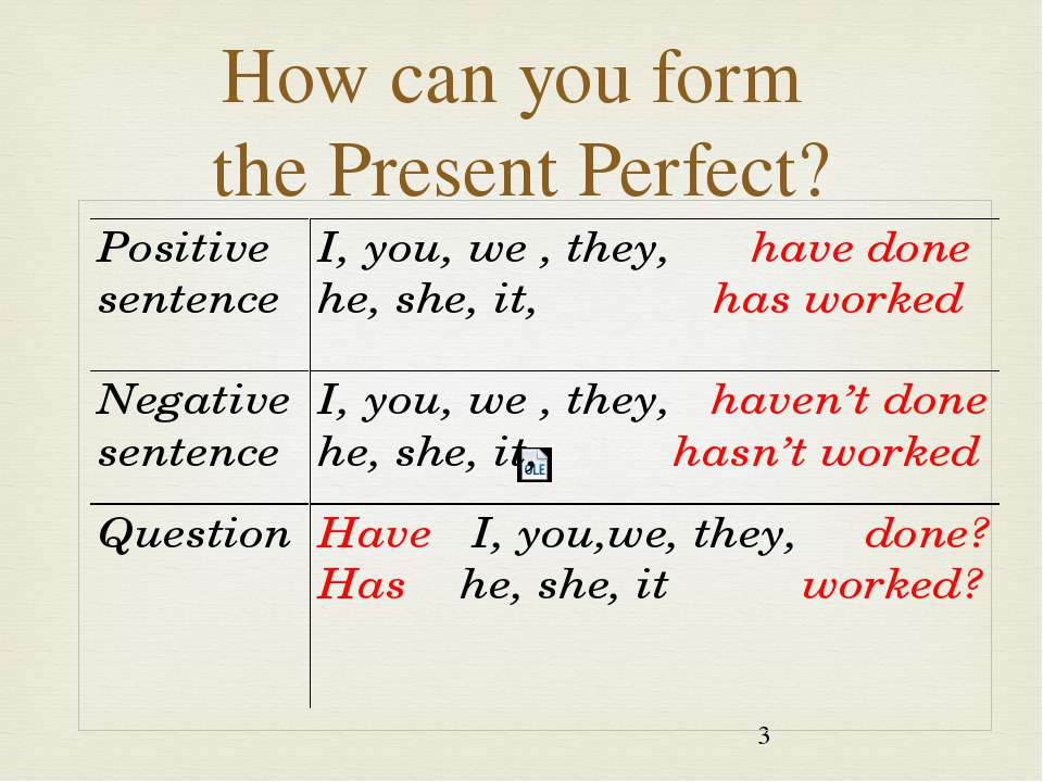 How can you form the Present Perfect?