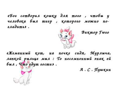 «Бог сотворил кошку для того , чтобы у человека был тигр , которого можно по ...