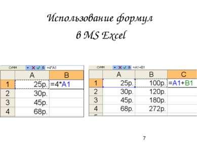 Использование формул в MS Exсel